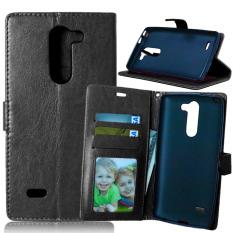 Dompet Kulit Case Flip Penutup With Kartu Kredit Pemegang ID untuk LG G3 Stylus D690 D690N D693 (Hitam)