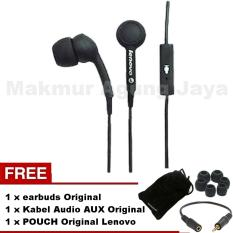 Lenovo In Ear P165 Original Super Bass Headset Audio Voice In Universal Suport Smartphones Hitam/Black + Free Earbuds