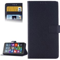 Lengkeng Tekstur Flip Kulit Case dengan Pemegang dan Slot Kartu dan Dompet untuk Microsoft Lumia 640 (Hitam) -Intl