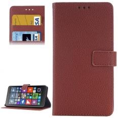 Lengkeng Tekstur Flip Kulit Case dengan Pemegang dan Slot Kartu dan Dompet untuk Microsoft Lumia 640 (Brown) -Intl