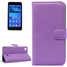 Litchi Texture Leather Case with Holder and Card Slots and Wallet for Huawei Honor 4 Play / Ascend G620s(Purple) - intl