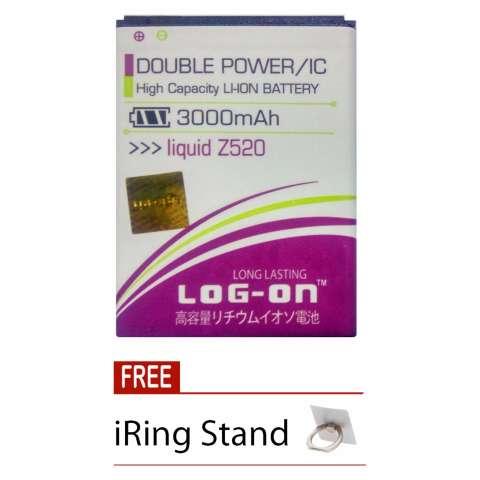 Log on Baterai Acer Liquid Z520 - Double Power - 3000 mAh + Free iRing Stand