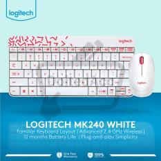 Logitech Keyboard MK 240  Nano Wireless Combo - Putih