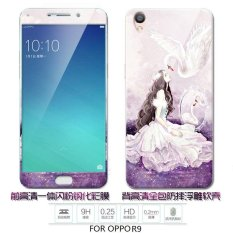 Lovely 3D Painting Front Full Case Cover Color Tempered Glass Case + Back TPU Case Screen Protector Film For OPPO R9/F1PLUS
