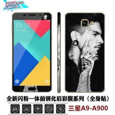 Lovely 3D Painting Front Full Case Cover Color Tempered Glass Case Screen Protector Film + Back Cartoon Sticker Case For Samsung Galaxy A9