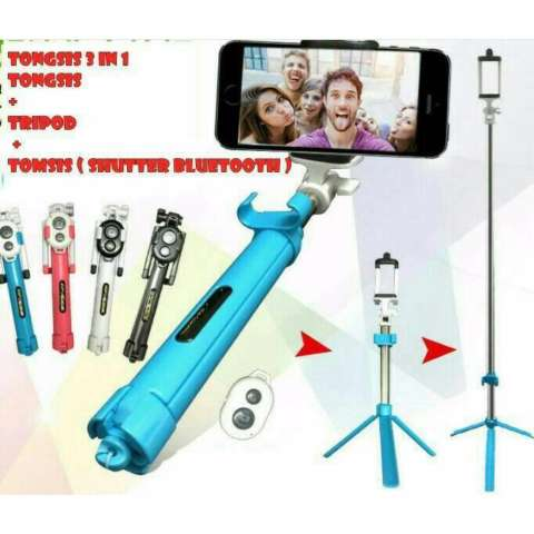 Lucky - Tongsis 3 in 1 With Bluetooth + Tripod Selfie Stick - Hitam + Gratis