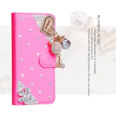 luxurious Women Handmade Rhinestone Diamond Leather Wallet Cover Case For Acer Liquid Jade Primo - intl