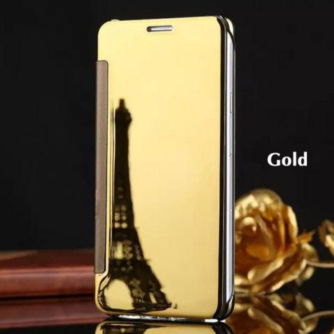 Samsung J7 Prime Flipcase Flip Mirror Cover S View Transparan AutoLock Casing Hp-Rose Gold