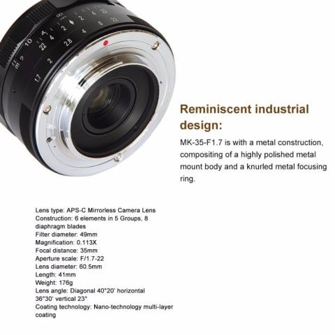 Meike 35mm f/1.7 APS-C Large Aperture Manual Focus Fixed Lens for Can0n EOS-M Mirrorless Camera EOS-M3/EOS-M2/EOS-M10/EOS-M Frosted Metal Construction/Multi Coated - intl 4
