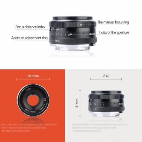 Meike 35mm f/1.7 APS-C Large Aperture Manual Focus Fixed Lens for Can0n EOS-M Mirrorless Camera EOS-M3/EOS-M2/EOS-M10/EOS-M Frosted Metal Construction/Multi Coated - intl 1