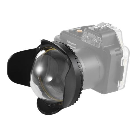 Meikon Di Bawah Air Kamera 200 Mm Fisheye Lebar Sudut Lensa Kubah Port Kasus Bayangan Sarung 60 M/197ft Anti-Air 67 MM Sepanjang Adaptor untuk Perumahan Menyelam Kamera-Internasional 2