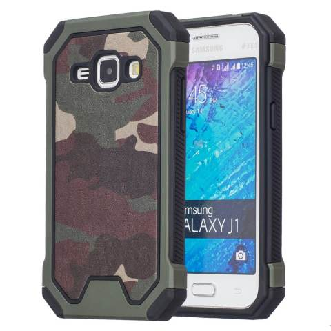 Meishengkai Case untuk Samsung Galaxy J1 Kamuflase [Redam Kejut] Tahan Lama Dual Layer 2