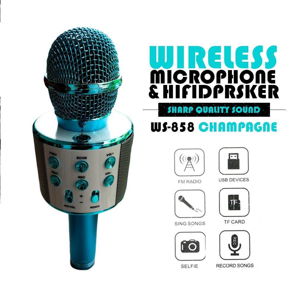 MIC Smule Karaoke Portable WS-858 Bluetooth Wireless Microphone Speaker USB