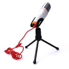 Mikrofon Kondenser Studio + Stand SF666 Microphone with Stand 3.5mm Mic Peralatan Sound System Panggung for Smarthphone Laptop PC Recording Rekaman Shockproof Mount Suara Jernih Aksesoris Audio Video Menyanyi Karaoke Singing Perfect Voice - White