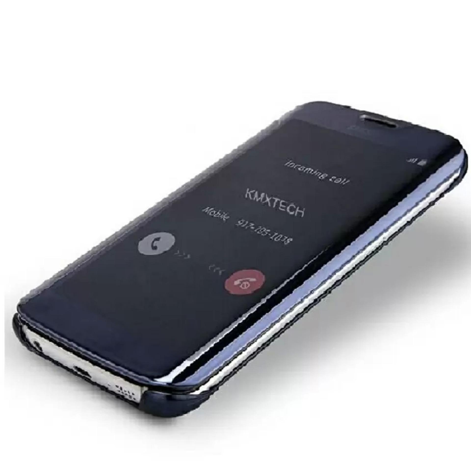 MNC Flipcase Flip Mirror Cover S View Transparan Auto Lock Casing Hp For Samsung J7 Prime -Black