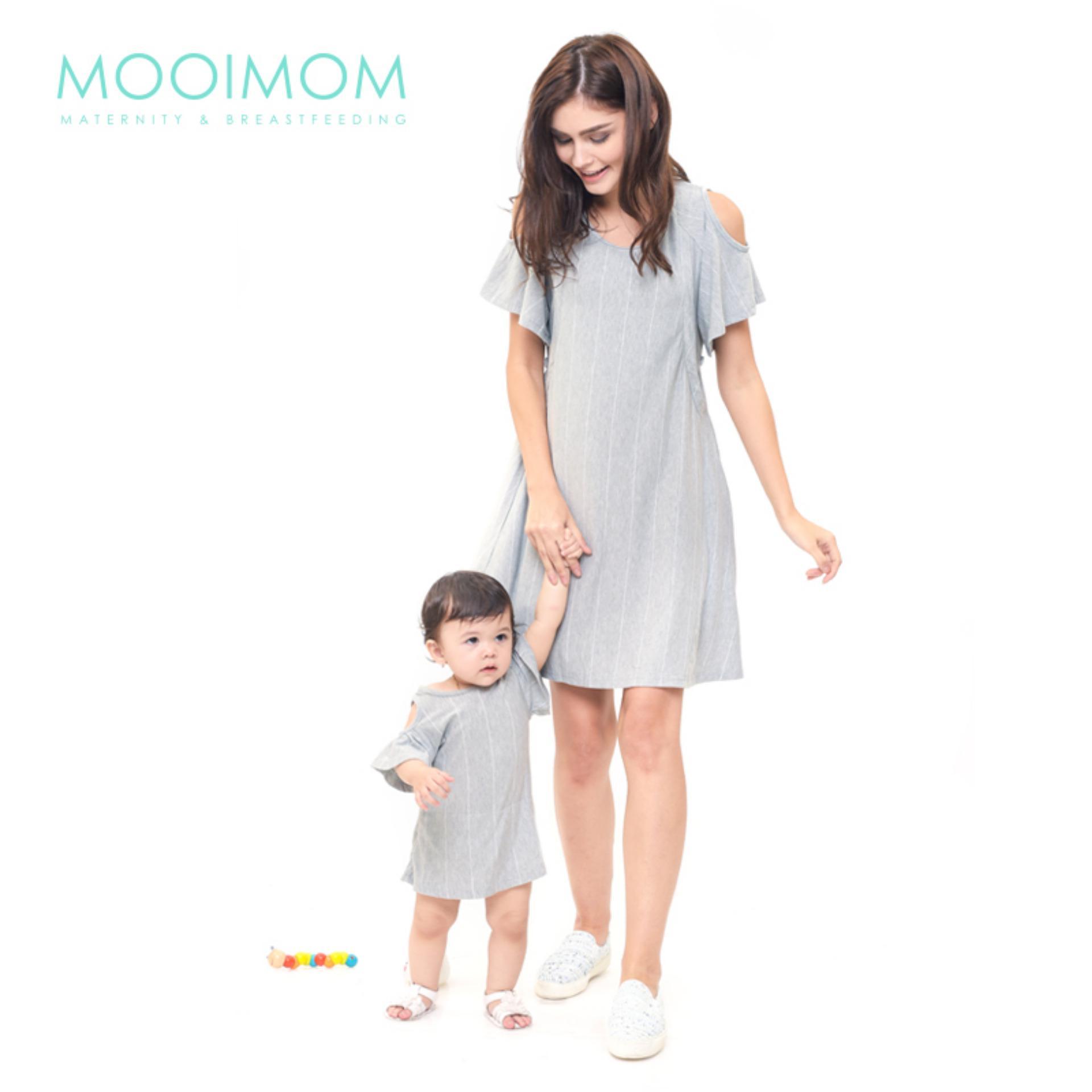 MOOIMOM Cold Shoulder Nursing Dress & Baby Clothes Baju Hamil Menyusui Couple Ibu Anak - Grey Girl