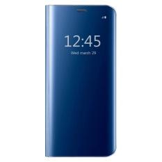 Moon Case Samsung Galaxy J7 Prime Case, Pro Flip Specular Cermin Penutup Pelindung Case dengan Smart Tidur Biru-Intl