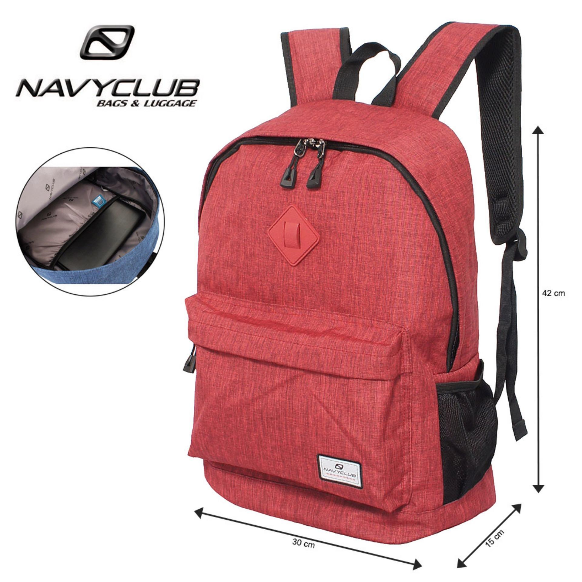 Navy Club Tas Ransel Laptop Kasual - Tas Pria Tas Wanita Tas Laptop Trendy EIBB Backpack Up to 14 inch Daypaack - Merah