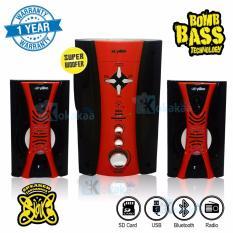 Niko Slank Speaker Super Woofer Bomb Bass Technology Pengeras Suara + Bluetooth NK-M2Bx - Merah