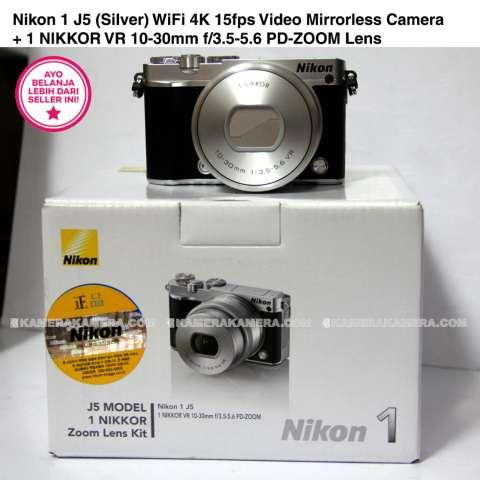 Nikon 1 J5 (Silver) WiFi 4K 15fps Video Mirrorless Camera + 1 NIKKOR VR 10-30mm f/3.5-5.6 PD-ZOOM Lens 7