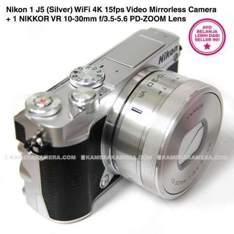 Nikon 1 J5 (Silver) WiFi 4K 15fps Video Mirrorless Camera + 1 NIKKOR VR 10-30mm f/3.5-5.6 PD-ZOOM Lens 4
