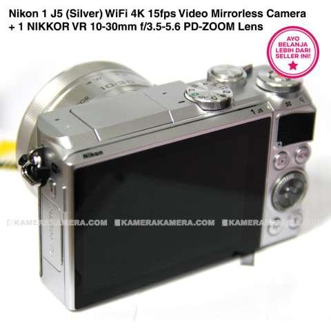 Nikon 1 J5 (Silver) WiFi 4K 15fps Video Mirrorless Camera + 1 NIKKOR VR 10-30mm f/3.5-5.6 PD-ZOOM Lens 2