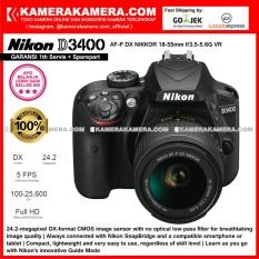 Nikon D3400 AF-P DX Nikkor 18-55 VR Kit 24MP DX-format APS-C CMOS Sensor Full HD 1080p 60 fps Built-in Wireless (Garansi 1th)