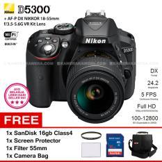 NIKON D5300 (BLACK) + AF-P DX NIKKOR 18-55mm f/3.5-5.6G VR Kit Lens WiFi 24.2MP 5FPS Full HD + Filter 55mm + SanDisk 16Gb + Screen Protector + Camera Bag