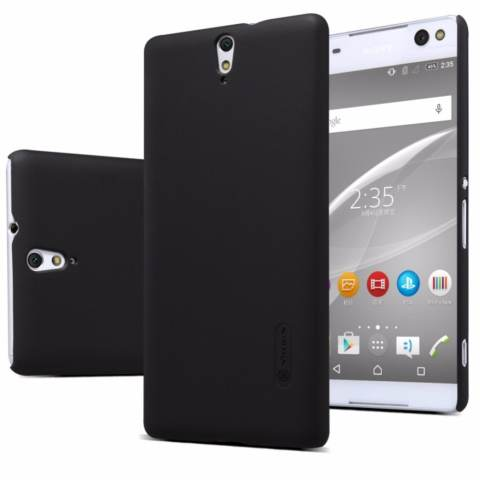 Nillkin Frosted case for Sony Xperia C5 Ultra) - Hitam + free screen protector