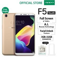 """Oppo F5 Youth 3GB/32GB Gold – Smartphone Full Screen 6"""" FHD+ (Garansi Resmi Oppo Indonesia, Cicilan Tanpa Kartu Kredit, Gratis Ongkir)"""