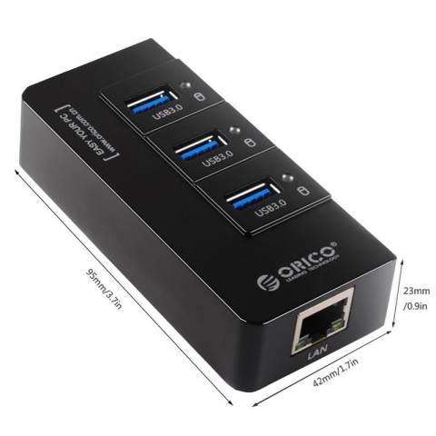 ORICO HR01-U3 Portable 3 Port USB 3.0 HUB with 1 RJ45 10/100/1000 Gigabit Ethernet LAN Wired Network Adapter - HITAM