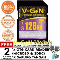 Original V-Gen SD Card 128GB SDXC Class 10 Turbo Series Free OTG Card Reader Micro SD / SDHC + Sarung Tangan Anti Panas