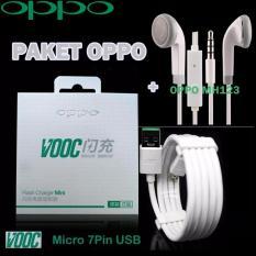 PAKET OPPO Kabel Data VOOC Micro USB 7 Pin + OPPO Handsfree MH123 - Putih
