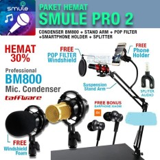 Paket SMULE PRO 2 Mic BM800 + Stand Arm + Pop Filter + Phone Holder