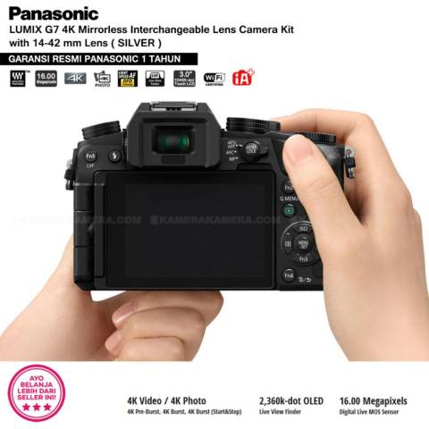 Panasonic DMC-G7K Silver - Kamera Mirrorless G7 WiFi 4K 16MP + Lumix G Vario 14-42mm/ F3.5-5.6 II ASPH (Garansi Resmi Panasonic 1th) 7