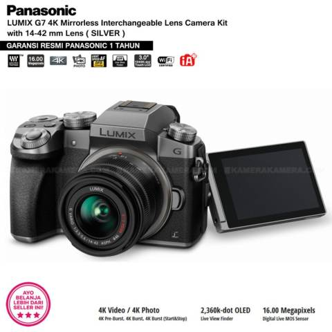 Panasonic DMC-G7K Silver - Kamera Mirrorless G7 WiFi 4K 16MP + Lumix G Vario 14-42mm/ F3.5-5.6 II ASPH (Garansi Resmi Panasonic 1th) 3