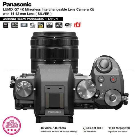 Panasonic DMC-G7K Silver - Kamera Mirrorless G7 WiFi 4K 16MP + Lumix G Vario 14-42mm/ F3.5-5.6 II ASPH (Garansi Resmi Panasonic 1th) 4