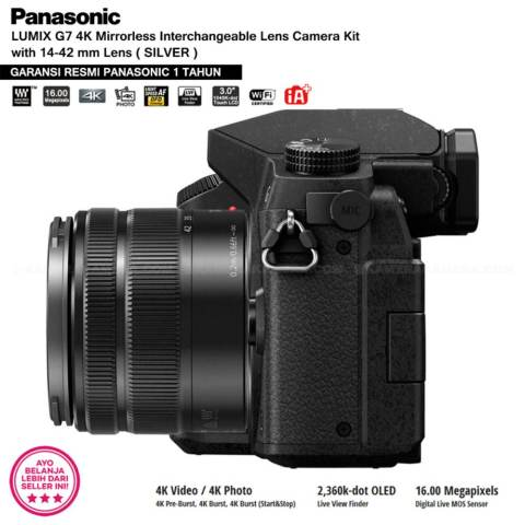 Panasonic DMC-G7K Silver - Kamera Mirrorless G7 WiFi 4K 16MP + Lumix G Vario 14-42mm/ F3.5-5.6 II ASPH (Garansi Resmi Panasonic 1th) 5