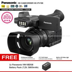 Panasonic HC-PV100 Full HD Camcorder - 20x optical zoom Built-in LED Video Light (Garansi Resmi) + Panasonic VW-VBD58 Battery Pack (7.2V, 5800mAh)
