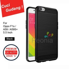 Peonia Carbon Shockproof Hybrid Premium Quality Grade A Case for Oppo F1s / A59 / A59S 5.5 Inch - Hitam