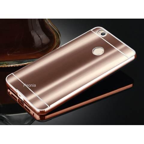 Home; Peonia Glare Mirror Backcase with Metal Aluminium Bumper For Xiaomi MI4S - Rose Gold