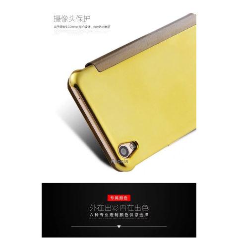Peonia Mirror Flip Cover Case for Oppo F1 Plus / R9 5.5 Inch ( Gold )