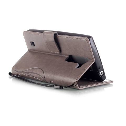 Pola Dompet Slot Kartu Ini Kupu-kupu PU Kulit untuk Menutupi Case LG Magna H502