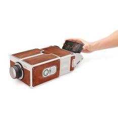 Portable DIY Kardus Smart Phone Projector Cinema Proyektor Mini Hadiah Mainan-Internasional