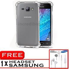 PROMO  Case Anti Shock / Anti Crack Elegant Softcase  for Samsung Galaxy J1 2015 (J100) - White Clear + Free Headset Samsung