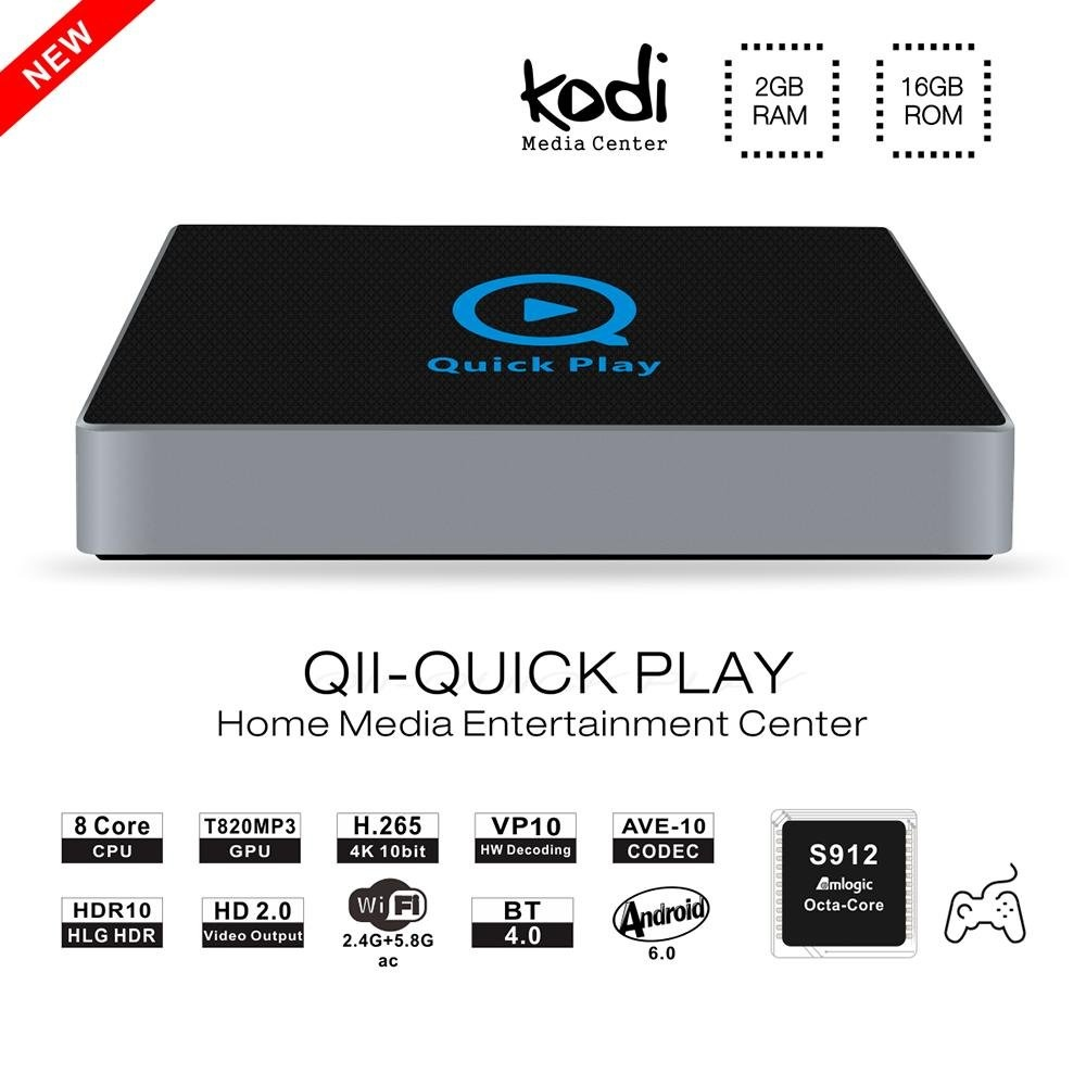QII Android 6.0 BT 4.0 TV Box Amlogic S912 Octa Core RAM 2 GB ROM 16 GB 4 K H.265 HD 2.0 Kodi Wifi Streaming Media Player (AS) -Intl