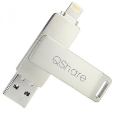 QShare USB 3.0 64GB iPhone Lightning Flash Drive for iPhone, iPhone Plus iPad iPod Touch External Storage iPad USB,Touch ID Encryption and Apple MFI Certified