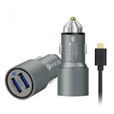 Quick Charge 2.0, JDB 36 W Dual Quick Charge 2.0 USB Port Charger Mobil Cepat & 3Ft Micro USB Kabel untuk Samsung Adaptif Pengisian Cepat, LG, Nexus, Motorola, IPhone dan Lainnya