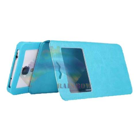 Rainbow Coolpad Fancy 3 Universal Leather Case Windows View F4 Ukuran 5.0 inch With Silicone Case
