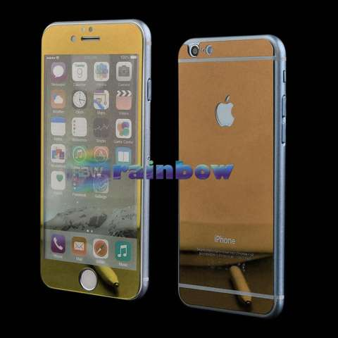 Rainbow Tempered Glass Apple iPhone 7 4.7 inch 2in1 Mirror Glossy Gold / Temper Depan Belakang